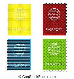 Passport sign illustration. Vector. Yellow, red, blue, green...