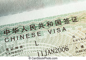 Passport stamp visa for travel concept background, Chinese
