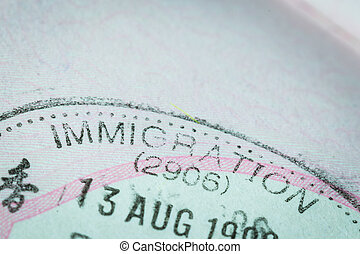 Passport stamp visa for travel concept background