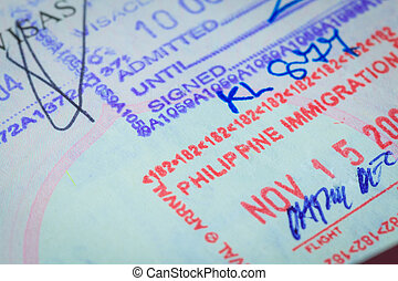 Passport stamp visa for travel concept background