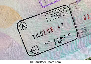 Passport stamp visa for travel concept background, Paris France
