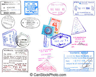A collection of stamps and visa's on a white backround from Japan, Korea, Hong Kong, Australia, Venezuela, United States and Egypt