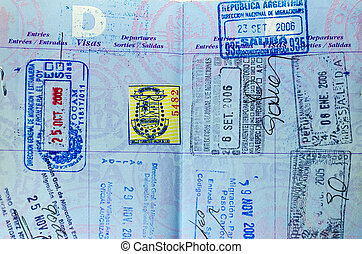 Closeup view of well used passport pages and stamps