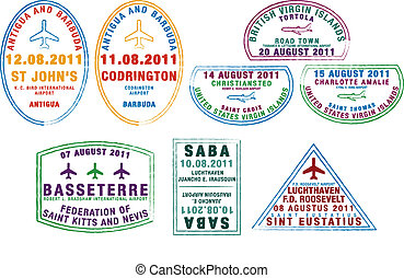 Passport Stamps - Passport stamps from the Windward Islands...