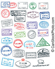 Passport Stamps - High details vector passport stamps.