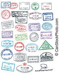 High details vector passport stamps.