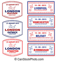 Passport stamps of the UK and Northern Ireland, vector...