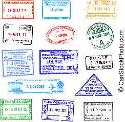 Passport stamps on white background