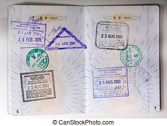 Passport Stamps - Passport stamps entering Thailand,...