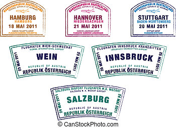 Passport stamps from Germany and Austria in vector format.