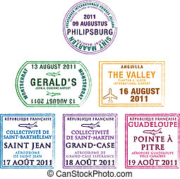 Passport stamps of the Windward Islands in the Caribbean in vector format.