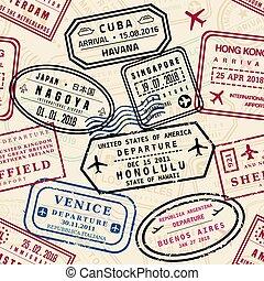 Passport stamps pattern