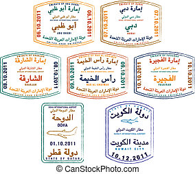 Passport Stamps - Stylized passport stamps of the United...