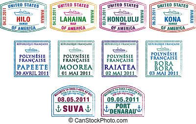 Passport Stamps - Hawaiian, French Polynesian and Fijian...