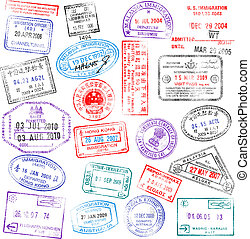 Passport Stamps - A collection of highly detailed passport...