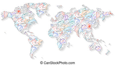 High Detail Vector Political World Map illustration, filled with a passport stamp texture.