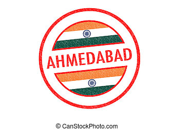 Passport-style AHMEDABAD (India) rubber stamp over a white background.