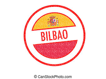 BILBAO - Passport-style BILBAO rubber stamp over a white...