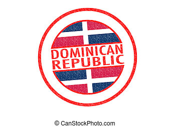 Passport-style DOMINICAN REPUBLIC rubber stamp over a white background.