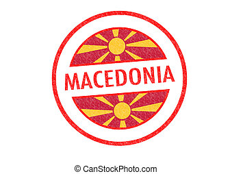 MACEDONIA - Passport-style MACEDONIA rubber stamp over a...