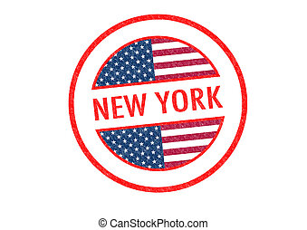 NEW YORK - Passport-style NEW YORK rubber stamp over a white...
