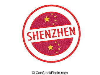 SHENZHEN - Passport-style SHENZHEN (China) rubber stamp over...