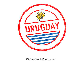 URUGUAY - Passport-style URUGUAY rubber stamp over a white ...