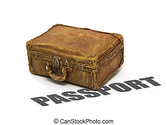 Passport Suitcase - old suitcase against an isolated...