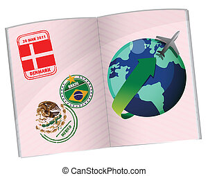 passport travel illustration design over white