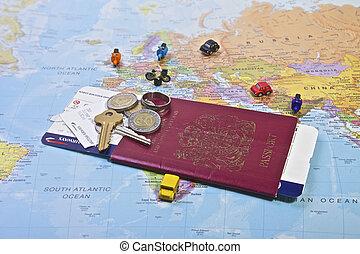 Passport, Travel - British Passport flight ticket and...