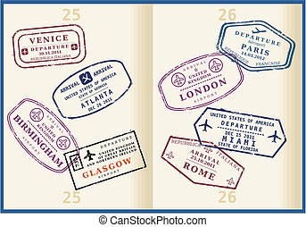 Various colorful visa stamps (not real) on passport pages. International business travel concept. Frequent flyer visas.