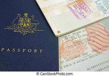 passport visa and customs stamp - Australian passport with...