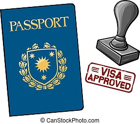 passport - visa approved - passport and seal with stamp -...