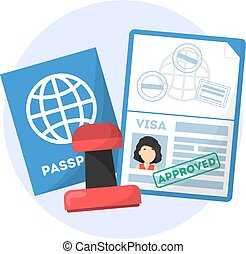 Passport with approved visa stamp on it. Idea of travel