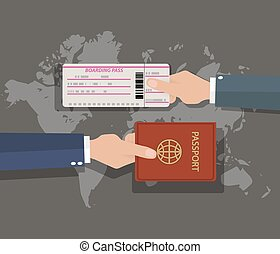 passport with boarding pass on world map