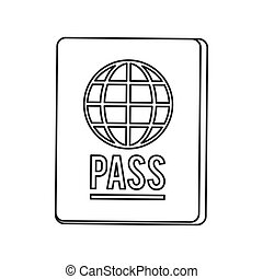 passport with earth diagram icon line design