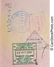 passport with iranian and indonesian stamps