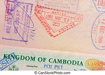 passport with malaysian and cambodian stamps