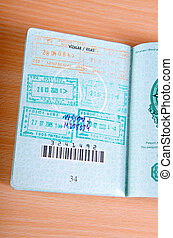 Passport with many stamped visas