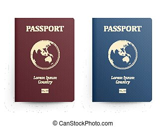 Passport With Map. Australia. Realistic Vector Illustration. Red And Blue Passports With Globe. International Identification Document. Front Cover. Isolated