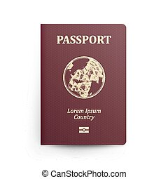 Passport With Map. Realistic Vector Illustration. Red Passport With Globe. International Identification Document. Front Cover. Isolated