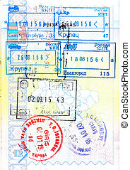 Passport with stamps of Russia, Macedonia, Turkey