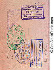 passport with stamps of uae
