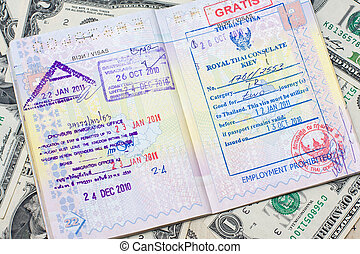 Passport with stamps with us dollar, concept of travel