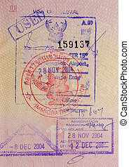 passport with thai visa and stamps
