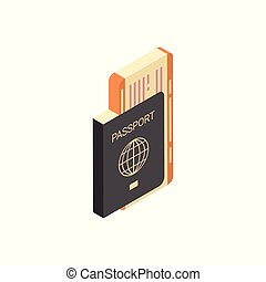 Passport With Tickets Icon Isometric Isolated Travel Concept
