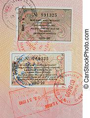 passport with turkish visa and stamps