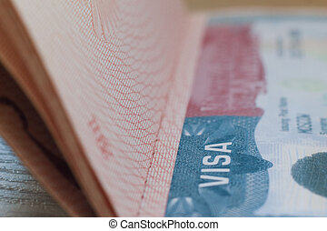 Passport with USA Visa -ID - travel background