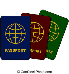 Cartoon illustration showing three passports in different colors and languages