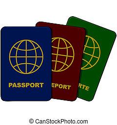 Passports - Cartoon illustration showing three passports in ...